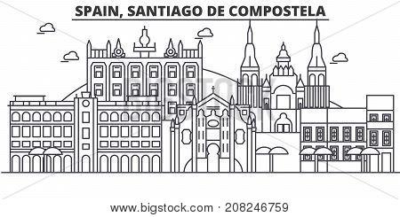 Spain, Santiago De Compostela architecture line skyline illustration. Linear vector cityscape with famous landmarks, city sights, design icons. Editable strokes