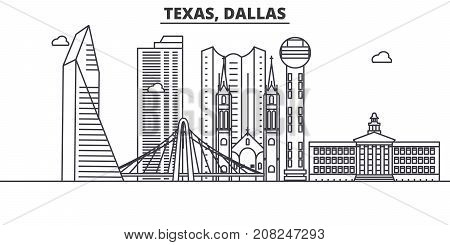 Texas Dallas architecture line skyline illustration. Linear vector cityscape with famous landmarks, city sights, design icons. Editable strokes