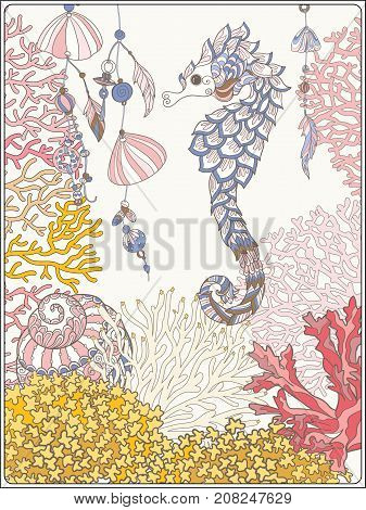 Coral reef collection. Corals, fish and sea shells on bottom composition. Vector illustration.