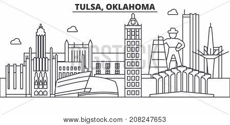 Tulsa, Oklahoma architecture line skyline illustration. Linear vector cityscape with famous landmarks, city sights, design icons. Editable strokes