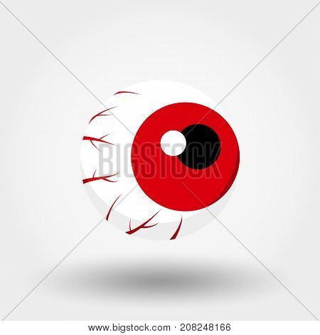 Red Eye. Icon for web and mobile application. Vector illustration on a white background. Flat design style