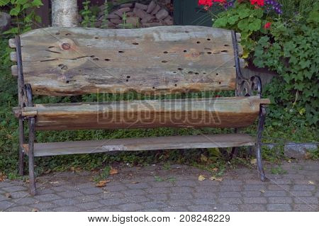 Wooden handmade bench sitting in a park
