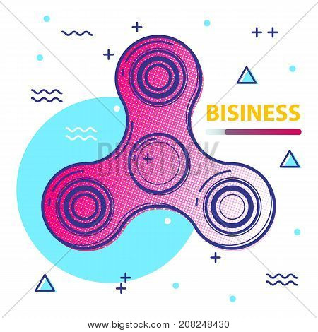 Fidget spinner poster covers with modern hipster and memphis colors. Spinner design for business, label, banner, advertising, placard, flyer, presentation. Avangarde background with geometric shapes