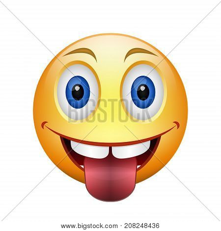 Cartoon yellow happy teased smiley with tongue and teeth. Colored cheerful emoticon illustration. Can by as avatar. Vector isolated object.