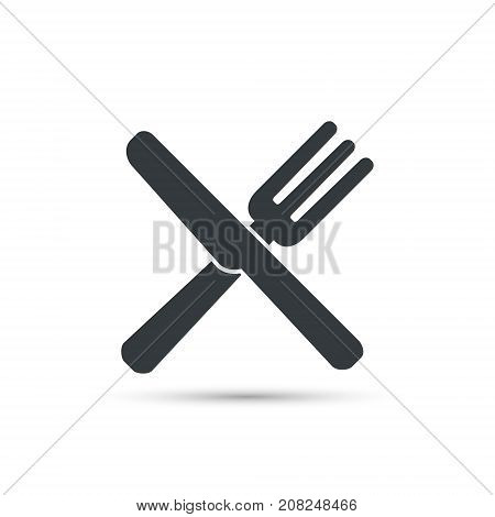 Crossed fork and knife icon. Restaurant cutlery sign. Vector isolated flat object.