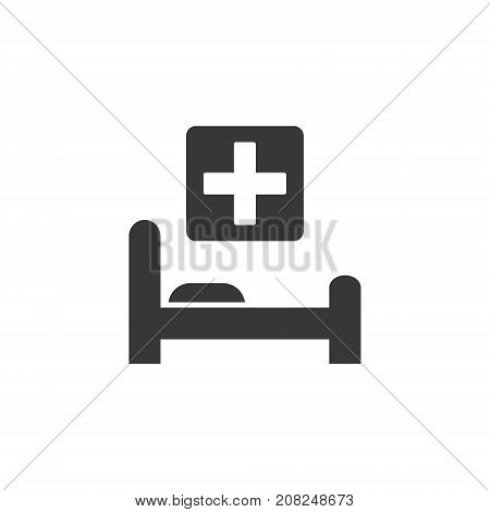 Black flat hospital icon. Illustration of simple hospital bed and medicine cross. Vector isolated illustration.
