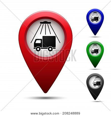 Colored map pointer with symbol truck wash. For location map to detect car truck wash. Mark icon. Sign for navigation. Index location on map. Pointer location. Vector isolated illustration.
