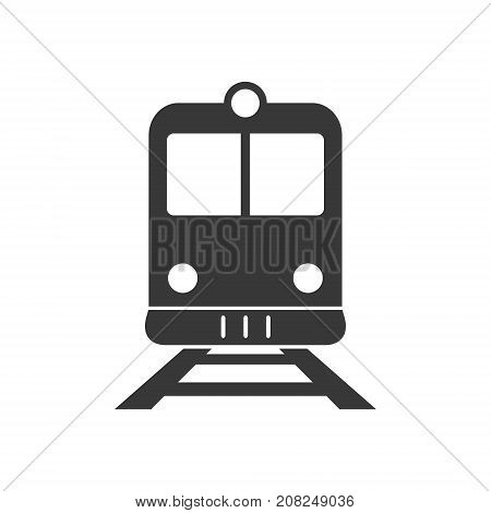 Train or and railway station flat icon. Front view of train or tram sign. Vector isolated object.