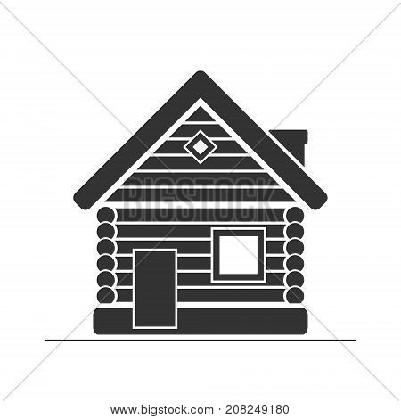 Wooden house icon. Timbered and wood home sign. Rural or country home sign. Vector isolated illustration.