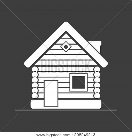 Wooden white house flat icon. Timbered and wood home illustration. Rural or country home sign. Vector isolated illustration.