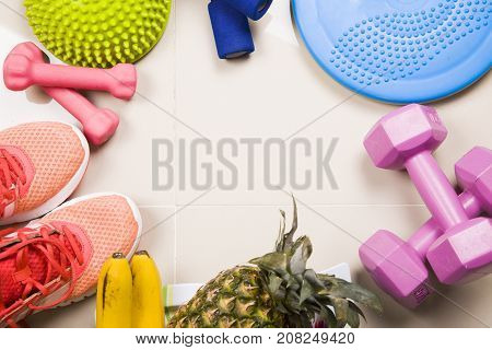 Healthy Lifestyle, Food, Sport Or Athlete's Equipment On Bright Background.sneakers, Weights, Fruits