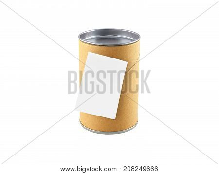 biscuits canned, cardboard canned with aluminum lid and blank sticky note, isolated on white background