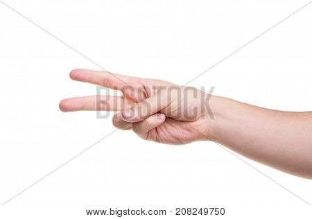 Two male fingers turned to the left isolated on white background. Close-up.