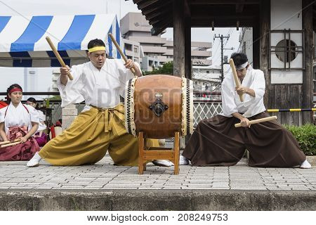 Tokyo Japan - September 24 2017: Drummers with drum and sticks playing in traditional clothing at Shinagawa Shukuba Matsuri festival