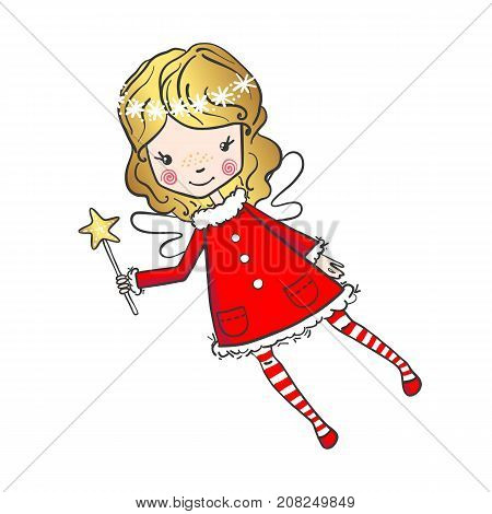 Hand drawn cute little fairy with a magic wand isolated on white background. Vector illustration. Design element for greeting cards, t-shirt and other