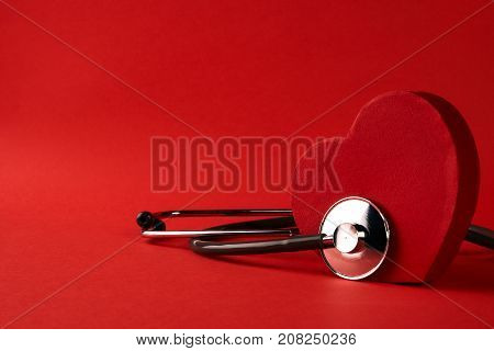 Red Heart And A Medical Stethoscope