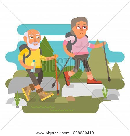 50 plus - couple hiking, active leisure in nature