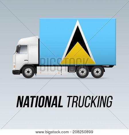 Symbol of National Delivery Truck with Flag of Saint Lucia. National Trucking Icon and flag design