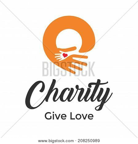 Abstract vector logo heart in a hand. Charity or medical logo design. Care logo symbol