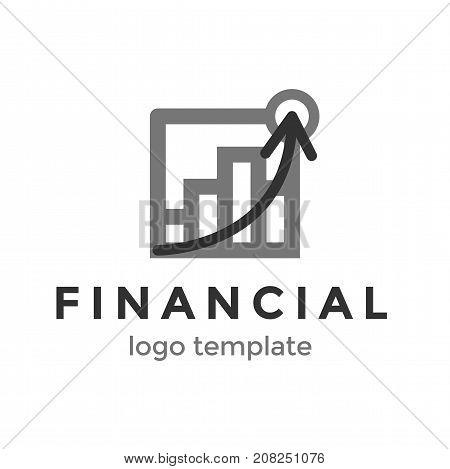 Financial logo design. Vector illustration success profit symbol
