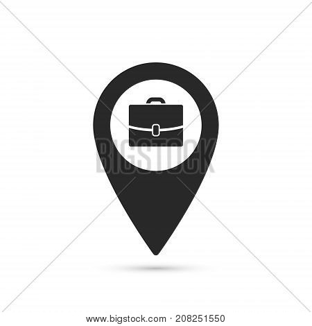 Map pointer with symbol portfolio job search offer a job. For location map. Mark icon. Simple sign for navigation. Index location on map. Pointer location. Vector isolated illustration.