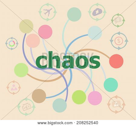 Text Chaos On Digital Background. Social Concept . Futuristic Graphic User Interface