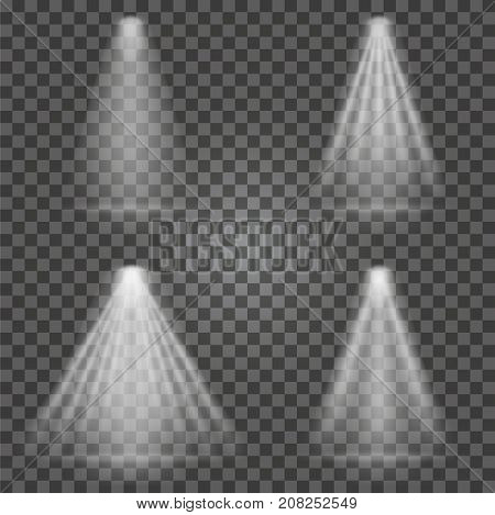 Light Beams On Transparent Background. Bright Spotlight Light Beams Set For Searchlight, Scene Illum