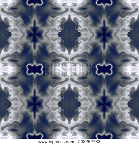 Seamless abstract symmetric pattern, fantastic background in gray and blue hues. Square template for creative design