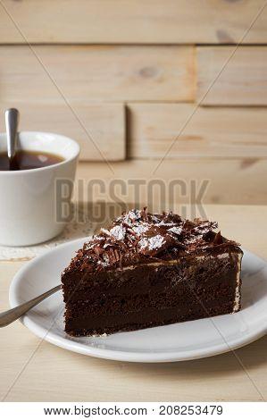 Slice Of Dark Chocolate Truffle Cream Cake