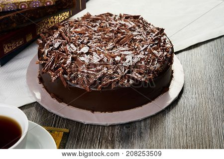 Homemade Dark Chocolate Truffle Cream Cake