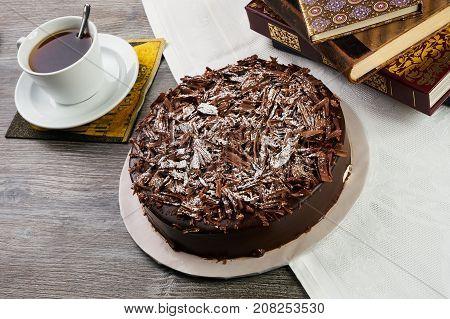 Homemade Dark Chocolate Truffle Cream Cake