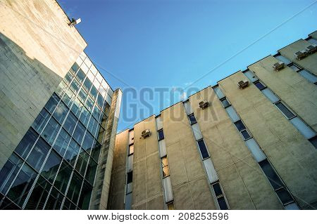 Old Soviet building from low viewpoing with sky background
