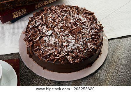 Delicious Dark Chocolate Truffle Cream Cake