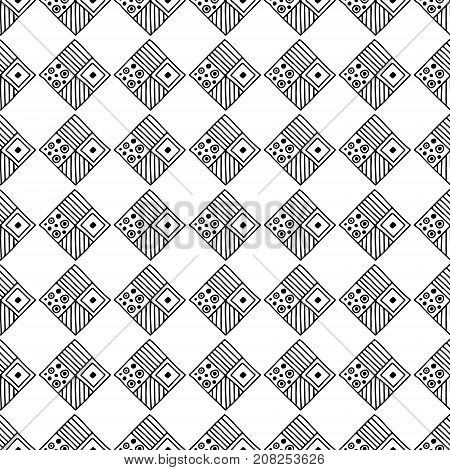 Seamless Vector Pattern. Geometrical Background With Hand Drawn Decorative Tribal Elements In Black
