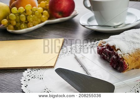 Berry Pie With Cherry And Cup Of Tea With Fresh Fruits