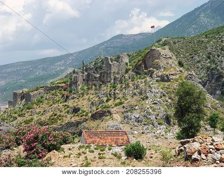 Fortress of the Knights of the Ioannites near Fethiye (XV century). Turkey
