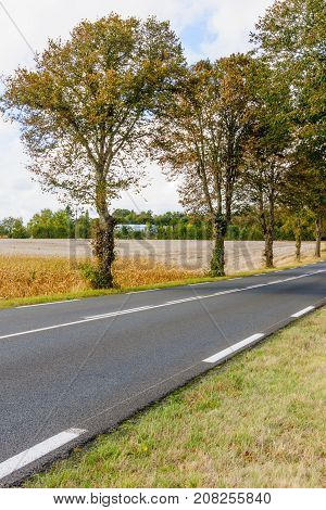 Landscape Of Road And Countryside In The Pays De La Loire