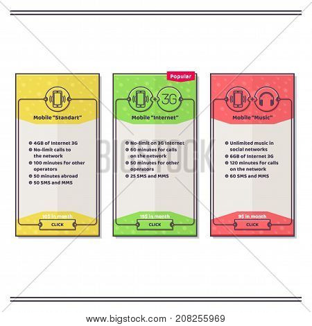 A set of three color banners for mobile operators. Indicate the services provided. With a drop shadow on a white background. Can be used on sites or mobile apps