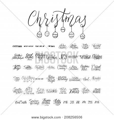 Merry Christmas brush lettering typography. 50 winter vector handdrawn lettering. Happy New Year lettering set. Vector logo, emblems, text design. Usable for banners, greeting cards, gifts etc.