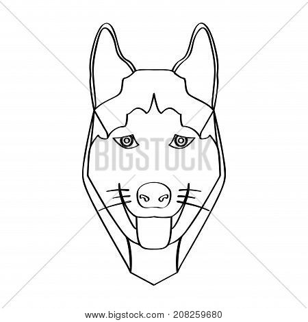 Isolated alaskan malamute avatar on a white background, Dog breed vector illustration