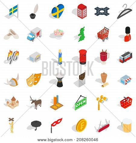 Castle icons set. Isometric style of 36 castle vector icons for web isolated on white background