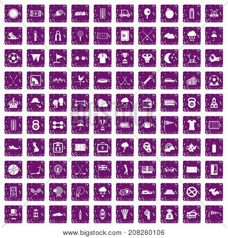 100 golf icons set in grunge style purple color isolated on white background vector illustration