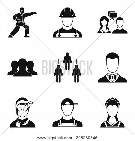 Team management icons set. Simple set of 9 team management vector icons for web isolated on white background