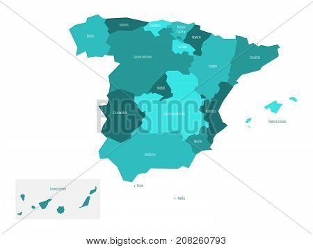 Map of Spain devided to 17 administrative autonomous communities. Simple flat vector map in shades of turquoise blue.
