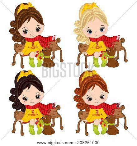 Vector cute little girls sitting on bench and looking at dog. Vector little girls with various hair colors. Autumn girls vector illustration