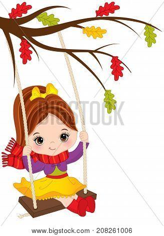 Vector cute little girl swinging on swing. Vector little girl sitting on swing. Autumn girl vector illustration