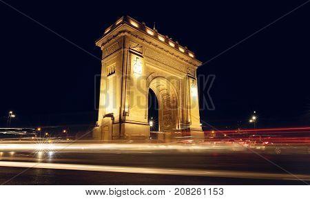 The Triumphal Arch (Arcul de Triumf) in Bucharest the capital of Romania. Historic monument