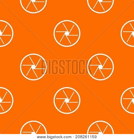 Round objective pattern repeat seamless in orange color for any design. Vector geometric illustration
