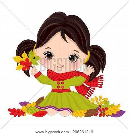 Vector cute little girl with autumn leaves. Vector little girl wearing rain coat and scarf. Autumn girl vector illustration