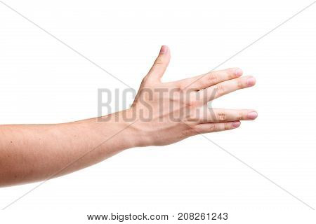 Male hands, making a sign. The man's hand protruded his fingers. Isolated on white background. Close-up.
